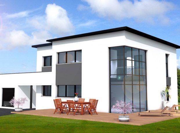 «architecte»  :maison contemporaine à étage de 148 m2 habitable  avec garage de 31