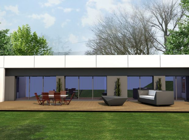 «architecte» : plain pied  de 156 m² habitables sur sous sol de 138 m²